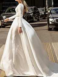 cheap -A-Line Wedding Dresses Jewel Neck Court Train Satin Long Sleeve Romantic Simple with Beading Crystal Brooch 2021