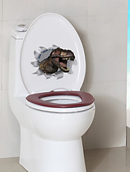 cheap -Dinosaurs Cartoon Wall Stickers Toilet Stickers Kids Room Kindergarten Toilet Removable Pre-pasted PVC Home Decoration Wall Decal 1pc
