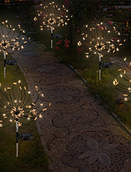cheap -LED Solar Power Star Fireworks String Lights IP65 Outdoor Lights 60 LEDs Fairy Xmas Light For Home Garden Yard Lawn Colorful Landscape Decoration Outdoor Lighting Christmas New Year Party Lamp 1X 2X