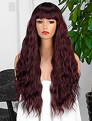 cheap -burgundy wig with bangs natural looking long wavy wig heat resistant synthetic wig for black women