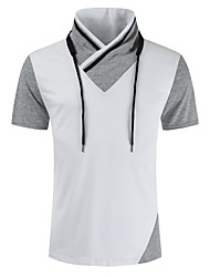 cheap -Men's T shirt Color Block Short Sleeve Casual Regular Fit Tops Lightweight Fashion Big and Tall White