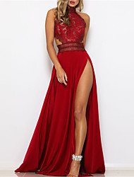 cheap -Women's Swing Dress Maxi long Dress Red Sleeveless Solid Color Backless Split Hollow Out Fall Winter Stand Collar Party Elegant & Luxurious Romantic Regular Fit 2021 S M L XL / Holiday