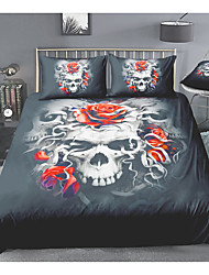cheap -Skull Series Floral Print 3-Piece Duvet Cover Set Hotel Bedding Sets Comforter Cover with Soft Lightweight Microfiber For Room Decoration(Include 1 Duvet Cover and 1or 2 Pillowcases)