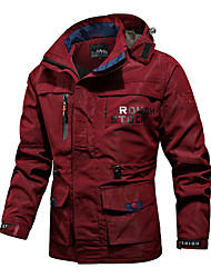cheap -Men's Jacket Street Daily Going out Fall Regular Coat Zipper Hoodie Regular Fit Breathable Sporty Casual Jacket Long Sleeve Plain Full Zip Pocket Khaki Green Red / Outdoor