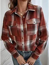 cheap -Women's Blouse Shirt Plaid Long Sleeve Shirt Collar Tops Regular Fit Wine