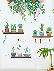 cheap -fresh green plants succulent potted leaves flowers bedroom porch home decoration wall stickers self-adhesive