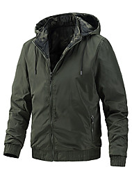 cheap -Men's Jacket Street Daily Fall Spring Short Coat Regular Fit Windproof Casual Jacket Long Sleeve Solid Color Full Zip Army Green Khaki Black