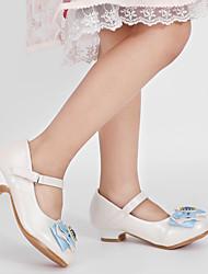 cheap -Girls' Heels Heel PU Wedding Dress Shoes Little Kids(4-7ys) Big Kids(7years +) Wedding Party Party & Evening Rhinestone Bowknot White Fall Winter
