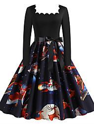 cheap -Women's A Line Dress Knee Length Dress Black Navy Blue Long Sleeve Floral Print Animal Bow Print Fall Winter Square Neck Casual Christmas Regular Fit 2021 S M L XL XXL 3XL
