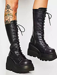 cheap -Women's Boots Platform Wedge Heel Round Toe Mid Calf Boots Cosplay Punk & Gothic Daily PU Solid Colored Black