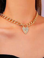 cheap -Choker Necklace Pendant Necklace Women's Chunky Imitation Diamond Heart Dainty Elegant Fashion European Sweet Wedding Gold 35+5 cm Necklace Jewelry for Street School Gift Daily Festival