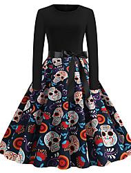 cheap -Women's Swing Dress Knee Length Dress Black Long Sleeve Skull Tree Pumpkin Shaped Bow Print Fall Winter Round Neck Vintage Christmas Halloween 2021 S M L XL XXL