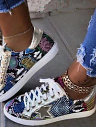 cheap -Women's Sneakers Comfort Shoes Fantasy Shoes Flat Heel Round Toe Casual Daily Walking Shoes Canvas Animal Patterned Black / White Brown Rainbow