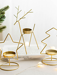 cheap -Christmas Decorations Candlestick Iron Candlestick Restaurant Decorations Iron Golden Atmosphere Candlestick