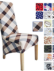 cheap -Grid Printed Dining Chair Covers, Stretch Chair Cover, Spandex High back Chair Protector Covers Seat Slipcover with Elastic Band for Dining Room,Wedding, Ceremony, Banquet