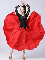 cheap -Ballroom Dance Dress Lace Splicing Women's Training Performance Long Sleeve High Polyester