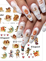 cheap -8 pcs Angel Cupid Stickers for Nails Decals Cherubs Nail Art Water Sliders Manicure Transfer Wraps Tattoo Decorations