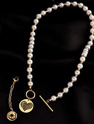 cheap -Pendant Necklace Women's Geometrical Titanium Steel Vintage Wedding White 21-50 cm Necklace Jewelry 1pc for Wedding Round