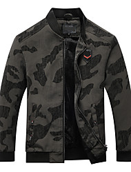 cheap -Men's Jacket Street Daily Going out Winter Regular Coat Zipper Stand Collar Regular Fit Warm Breathable Casual Jacket Long Sleeve Camo / Camouflage Full Zip Pocket Blue Gray / Outdoor