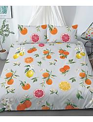 cheap -Print Home Bedding Duvet Cover Sets Soft Microfiber For Kids Teens Adults Bedroom Fruit Orange Lemon Grapefruit 1 Duvet Cover + 1/2 Pillowcase Shams