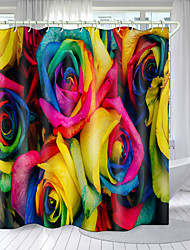 cheap -Blooming Flowers Digital Printing Shower Curtain Shower Curtains Hooks Modern Polyester New Design