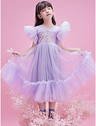 cheap -Princess Ankle Length Flower Girl Dresses Party Tulle Sleeveless V Neck with Buttons
