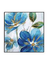 cheap -Oil Painting Handmade Hand Painted Wall Art Square Abstract Blue Floral Home Decoration Decor Rolled Canvas No Frame Unstretched