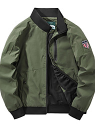 cheap -Men's Jacket Street Daily Fall Spring Short Coat Regular Fit Windproof Casual Jacket Long Sleeve Solid Color Full Zip Army Green Gray Black