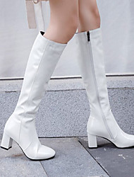 cheap -Women's Boots Block Heel Round Toe Knee High Boots Sexy Daily Patent Leather PU Solid Colored Winter Red White Black