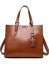 cheap -Women's Bags PU Leather Top Handle Bag Zipper Date Office & Career Handbags Wine Black Brown