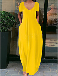 cheap -Women's T Shirt Dress Tee Dress Maxi long Dress fluorescent green Blue Purple Yellow Red Wine Light Grey Orange Black Red Light Green Short Sleeve Solid Color Spring Summer Round Neck Chic & Modern