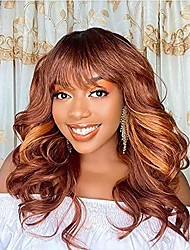 cheap -halloweencostumes orange color loose curls bouncy big curls wigs for black women medium length wavy wigs with air bangs heat resistant synthetic bangs wig daily use(orange color 20 inches)