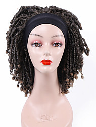cheap -Short Headband Wig Dreadlock Twist Wig for Women Black Curly Afro Wigs Faux Loks Braids Synthetic Hair Wigs with Curly Ends