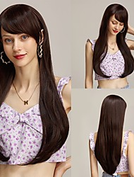 cheap -Long Straight Wigs for Women Afro Dark Brown Orange Synthetic Wigs with Full Bangs Cosplay Daily Heat Resistant Fiber Hair Free Cap