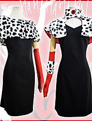 cheap -One Hundred and One Dalmatians Cruella De Vil Dress Masquerade Women's Movie Cosplay Vacation Halloween Black Dress Shawl Gloves Halloween Carnival Masquerade Polyester