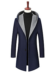 cheap -Men's Coat Street Daily Fall Winter Long Coat Single Breasted Hoodie Regular Fit Thermal Warm Breathable Casual Jacket Long Sleeve Solid Color Pocket Wine Gray Black