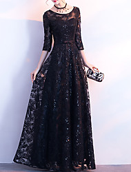 cheap -A-Line Glittering Elegant Wedding Guest Formal Evening Dress Jewel Neck 3/4 Length Sleeve Floor Length Sequined with Sash / Ribbon Bow(s) Sequin 2021