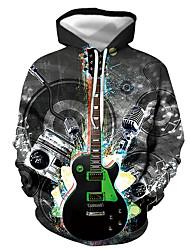 cheap -Men's Pullover Hoodie Sweatshirt Graphic Guitar Print Hooded Casual Daily 3D Print Casual Streetwear Hoodies Sweatshirts  Long Sleeve Blue Black Dark Gray