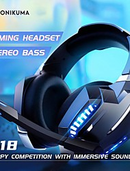 cheap -ONIKUMA K18 Gaming Headset USB 3.5mm Audio Jack PS4 PS5 XBOX Ergonomic Design Retractable Stereo for Apple Samsung Huawei Xiaomi MI  Everyday Use PC Computer Gaming