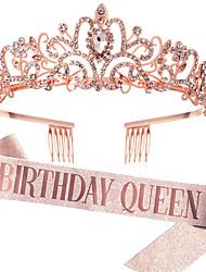 cheap -1 Piece Fashion Gold Powder Belt Birthday Girl Birthday Belt Crown Set Crystal Headdress Hair Accessories