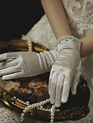 cheap -Polyester Wrist Length Glove Gloves / Imitation Pearl With Faux Pearl / Solid