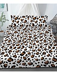 cheap -Print Home Bedding Duvet Cover Sets Soft Microfiber For Kids Teens Adults Bedroom Brown Leopard Pattern 1 Duvet Cover + 1/2 Pillowcase Shams