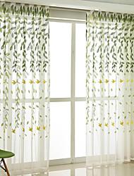 cheap -Window Curtain Window Treatments Semi Sheer Green 2 Panels Sheer Voile Grommet girl boy Boho/ Bohemian for Living Room Bedroom