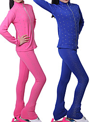 cheap -Figure Skating Jacket with Pants Girls' Ice Skating Jacket Pants / Trousers Fuchsia Blue Fleece Spandex High Elasticity Training Practise Competition Skating Wear Thermal Warm Handmade Crystal / Kids
