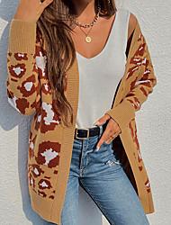 cheap -Women's Cardigan Knitted Leopard Stylish Long Sleeve Regular Fit Sweater Cardigans Open Front Fall Winter Gray Khaki
