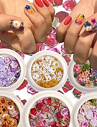 cheap -6 Pcs Nail Art Color Mixed Flower Wood Pulp Piece Small Daisy Rose Fresh Pastoral Nail Dried Flower Patch DIY Nail Art Decoration