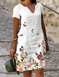 cheap -Women's Shift Dress Knee Length Dress Gray Green White Short Sleeve Floral Flower Print Spring Summer V Neck Casual Holiday 2021 S M L XL XXL XXXL / Loose