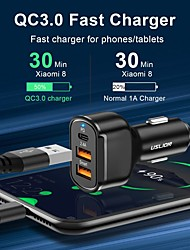 cheap -USLION PD 30W USB Car Charger 3 Ports USB Type C Fast Charge For iPhone 12 Xiaomi Huawei Samsung Phone Charger Adapter in Car