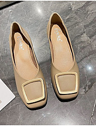 cheap -Women's Flats Flat Heel Square Toe Rubber PU Solid Colored Almond Beige