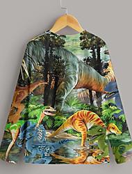 cheap -Kids Boys' T shirt Long Sleeve 3D Print Dinosaur Coconut Tree Multicolor Children Tops Fall Active Regular Fit 4-12 Years